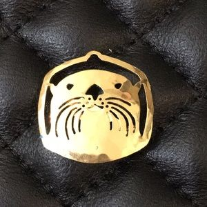 Wild Bryde Gold Filled Wildlife Otter Brooch